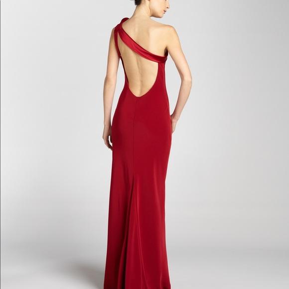 ABS Allen Schwartz Dresses | One Shoulder Rose Back Gown | Poshmark